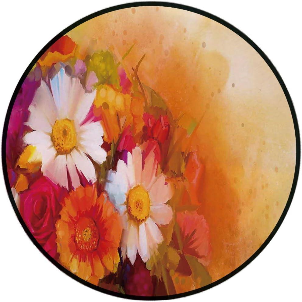 Lanqinglv Tapis rond 80 cm Aquarelle Rose multicolore Tapis pour int/érieur et ext/érieur pour terrasses chambre denfant Tapis moderne cuisine chambre /à coucher salon