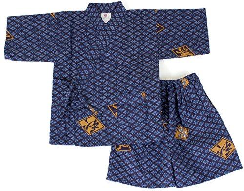 Kimono Japan Boy's Halloween Costume Ninja Jinbei Cotton Blue Pockets Cosplay Small Medium Large LL 3L (LL(7-8year-old))