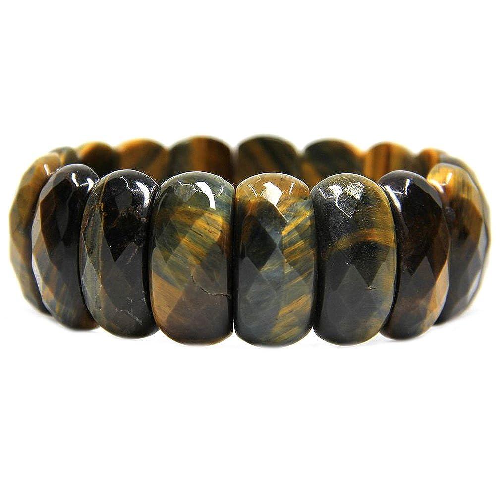 Shenzhen City ZiYueGe Jewelry Co.Ltd Bracelet /élastique unisexe de 18 cm Avec perles ovales en pierres semi-pr/écieuses de 25/mm