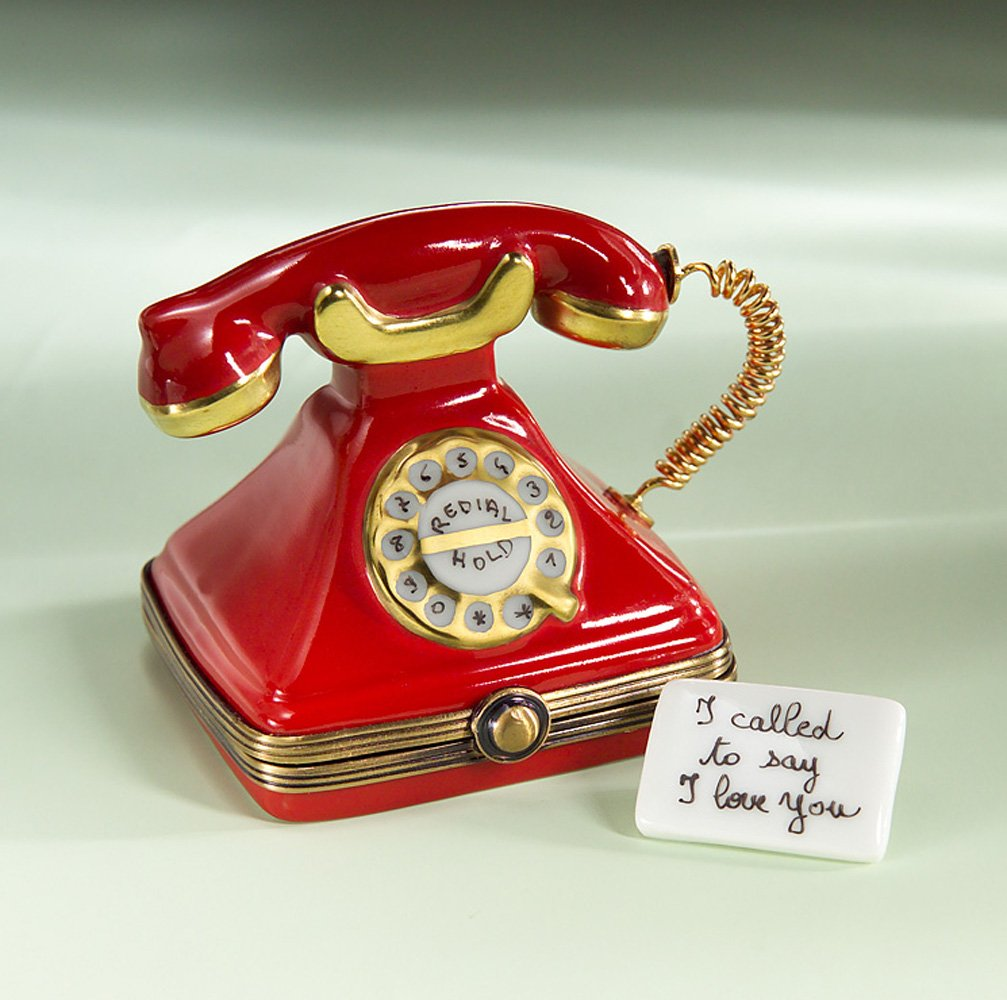Authentic French Hand Painted Limoges Red Telephone Box with Love Message by Authentic Limoges Boxes