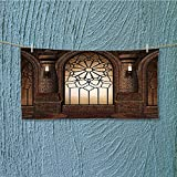 SCOCICI1588 super absorbent towel Myst Gate with Oriental Islamic and Curvings Artistic Design Brown Ideal for everyday use L27.5 x W13.8 INCH