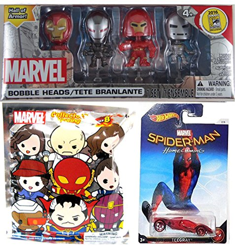 Marvel Iron Man   Hall Of Armor Sdcc Exclusive Bobble Head 4 Pack Minis   Hot Wheels Marvel Cars Spider Man Homecoming Teegray   Blind Bag Foam Character Keychain Series 8 Mystery Figure