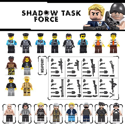 Maykid Minifigures set-20 Army Shadow Task Force with Military Weapons Accessories Policeman Soldier Minifigures Toys Building Blocks 100%Compatible