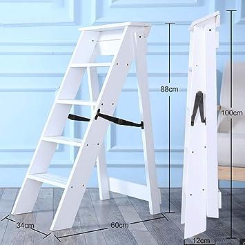 Madera Maciza Para El Hogar Escalera Plegable Engrosamiento Escalera En Espiga De 5 Escalones Loft De Almacenamiento Multifuncional Para Loft (Color : White): Amazon.es: Bricolaje y herramientas