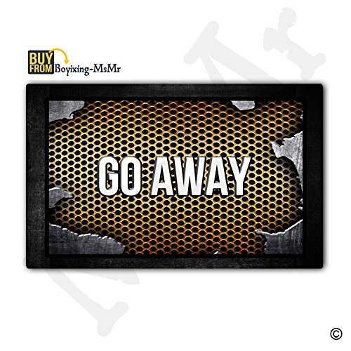 MsMr Custom Doormat Push It Textures Steel Metal Go Away Decor Doormat Indoor/Outdoor Door Mat 18 Inch by 30 Inch Non-woven Fabric Non slip by MsMr