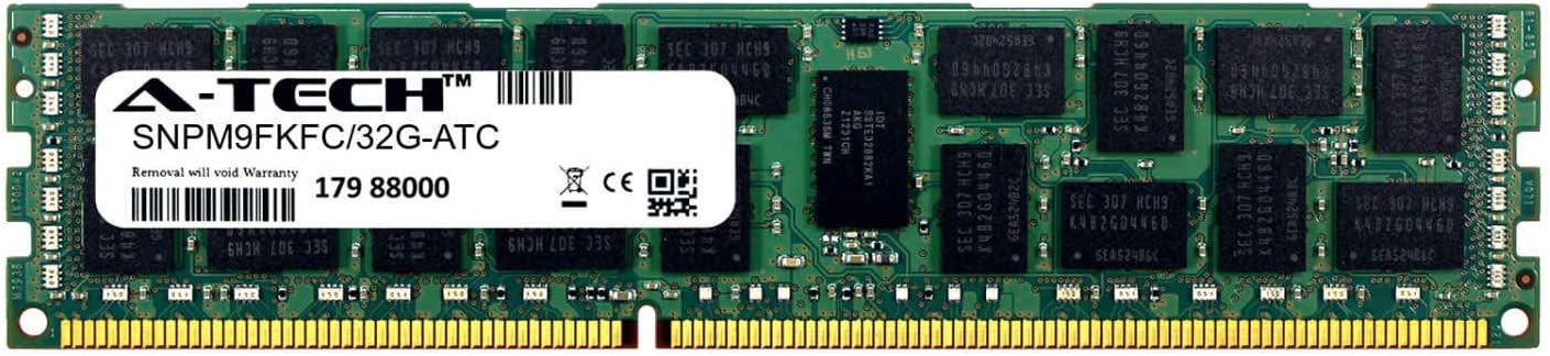 DDR3//DDR3L 1333MHz PC3-10600 ECC Registered RDIMM 4rx4 1.35v Single Server Memory Ram Stick A-Tech 32GB Replacement for Dell SNPM9FKFC//32G SNPM9FKFC//32G-ATC