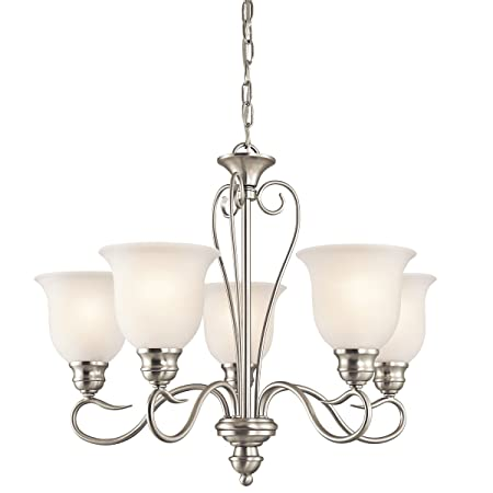Kichler 42906NI, Tanglewood Glass Chandelier Lighting, 5 Light, 500 Watts, Brushed Nickel