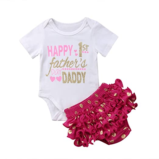 e5e690ea349d Amazon.com  Aliven Newborn Baby Girls 1st Father s Day Romper + Ruffle  Shorts Pants 2PCS Outfits Clothes Set  Clothing