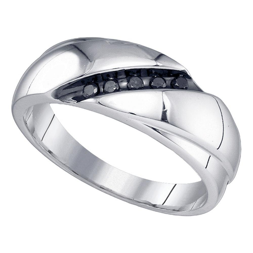 Jewels By Lux Sterling Silver Mens Round Black Color Enhanced Diamond Diagonal Row Band Ring 1//8 Cttw In Channel Setting I2-I3 clarity; Black color