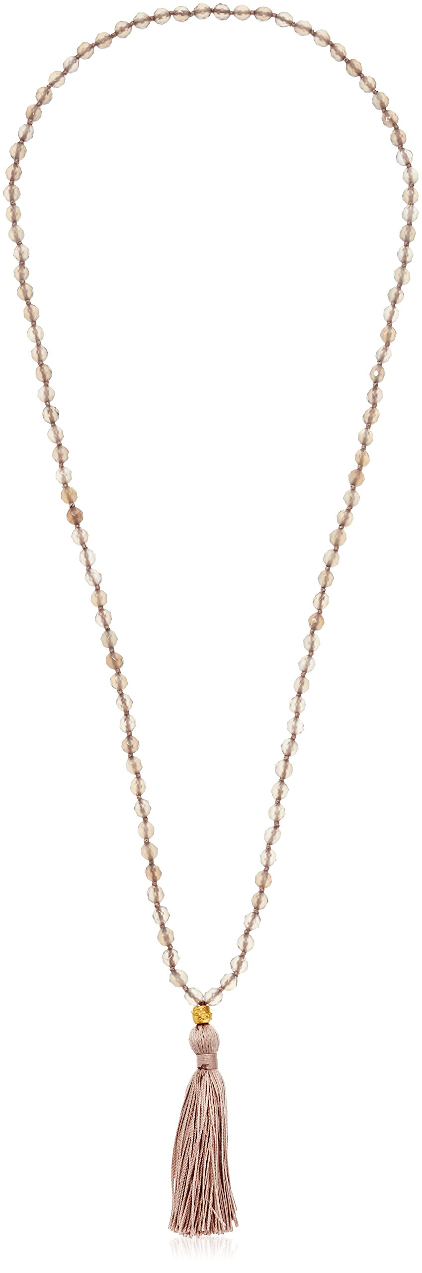 Satya Jewelry Grey Agate Gold Plated Cherry Blossom Mala Tassel Strand Necklace