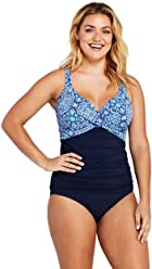 95bf54c6b5180 Lands' End Women's Plus Size Wrap Underwire Tankini Top Swimsuit Print
