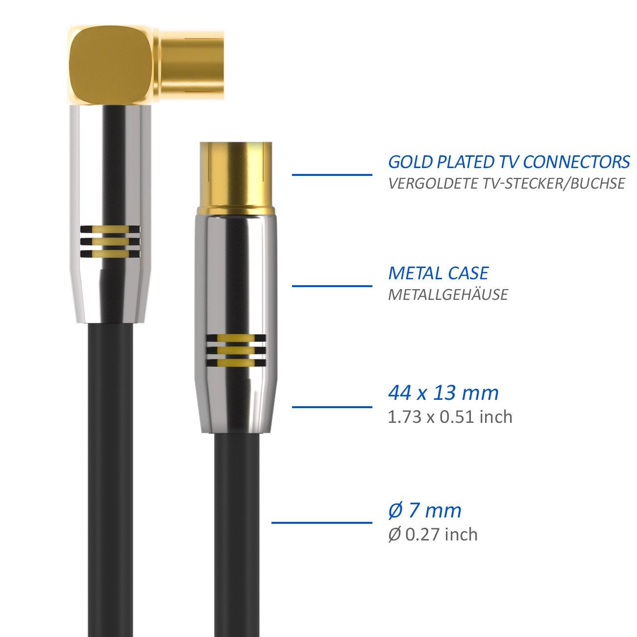 1x angolato//1x diritta cavo coassiale deleyCON TV Cavo antenna 1m Nero 100dB 4K UltraHD FullHD HDTV Spina di metallo Innesto antenna