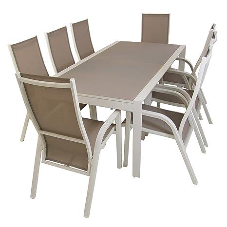 Conjunto de jardín, Mesa Extensible 200/300 cm y 6 sillones reclinables, Aluminio Blanco, Textilene Taupé, Cristal Mate, templad y Grueso Color taupé