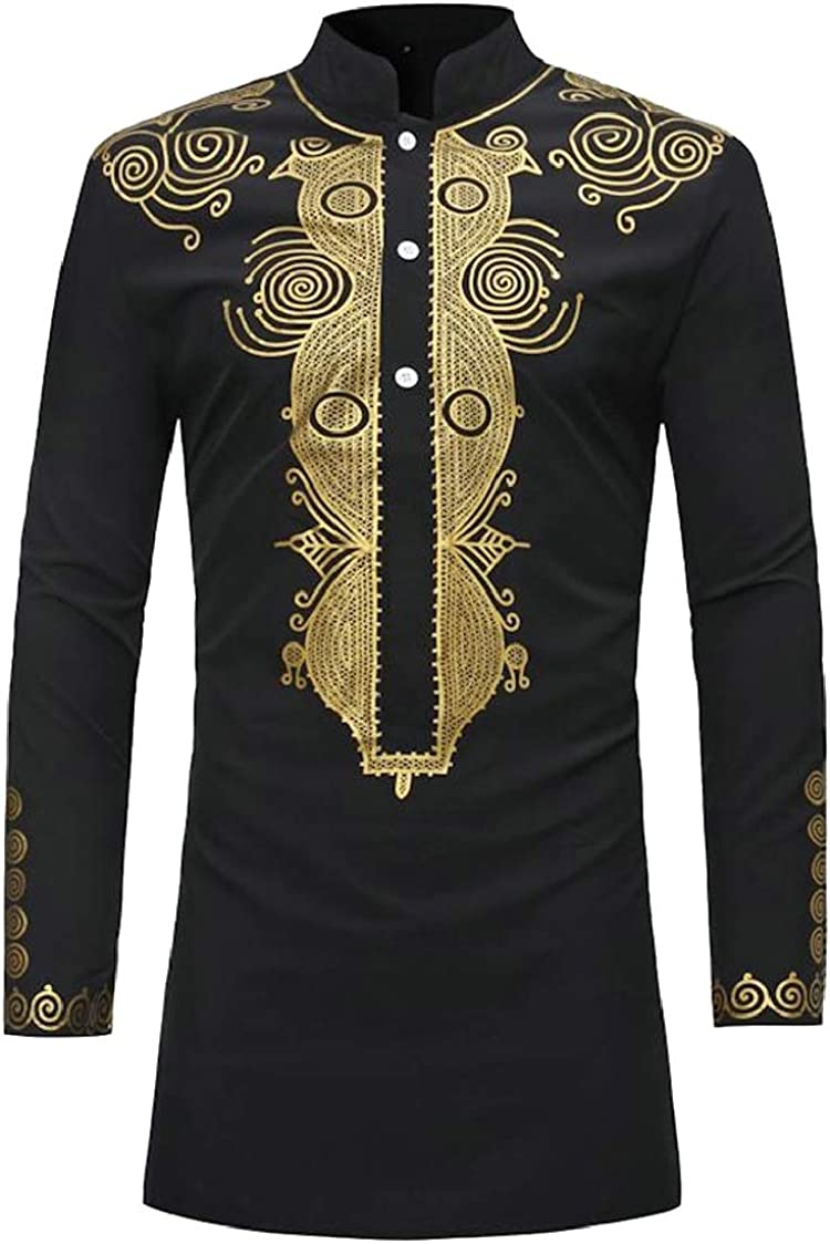 Pandapang Men Africa Floral Print Novelty Stand Collar Ethnic Style Midi Button Down Shirts