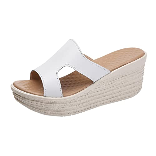 5870ef36e9f97 Frestepvie Mules Compensée Mode Femme Tongs Eté Sandales Confortable  Chaussure de Plage Vintage Vacances Sabots 35