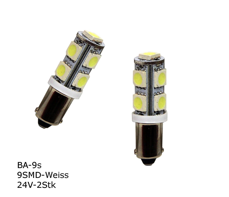 2 Stück BA9S LED Lampe mit 9 SMD für 24 Volt Einsatz, Farbe Weiß ...