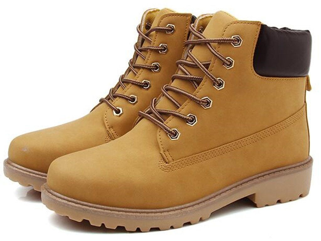 DADAWEN Women's Lace up Low Heel Work Combat Boots Waterproof Ankle Bootie Yellow US Size 8.5 by DADAWEN (Image #4)