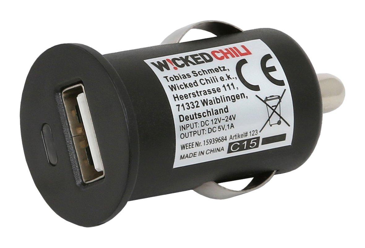 Wicked Chili USB-KFZ Zigarettenanzü nder Adapter fü r Handy, Navi und Smartphone (ultra kompakt, schwarz, 1,0 Ampere, 12V) Wicked Chili GmbH 840395