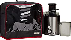 HOMEST Visible Juicer Dust Cover with Accessory Pockets Compatible with Breville, Mueller Austria, Aicok, Cuisinart, Black, Small (Patent Pending)