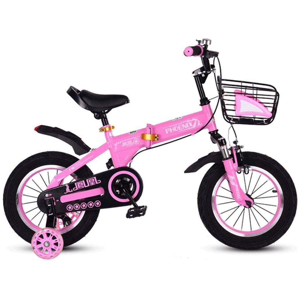 DGF 折りたたみ自転車の自転車のベビーバイク2-12歳の赤ちゃんのキャリッジ男性と女性の自転車 (色 : ピンク ぴんく, サイズ さいず : 18 inches) B07FH7WYMYピンク ぴんく 18 inches