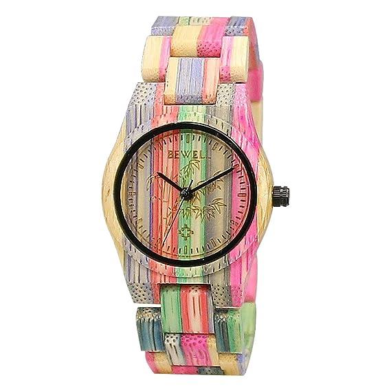 BEWELL Reloj de madera 100% hecho a mano natural de bambú colorido reloj de  cuarzo movimiento analógico para hombres y mujeres  Amazon.es  Relojes aa435c127b22