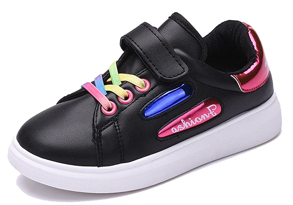 iDuoDuo Kids Rainbow Leather Sport Sneakers with Two Different Closures (Toddler/Little Kid/Big Kid)