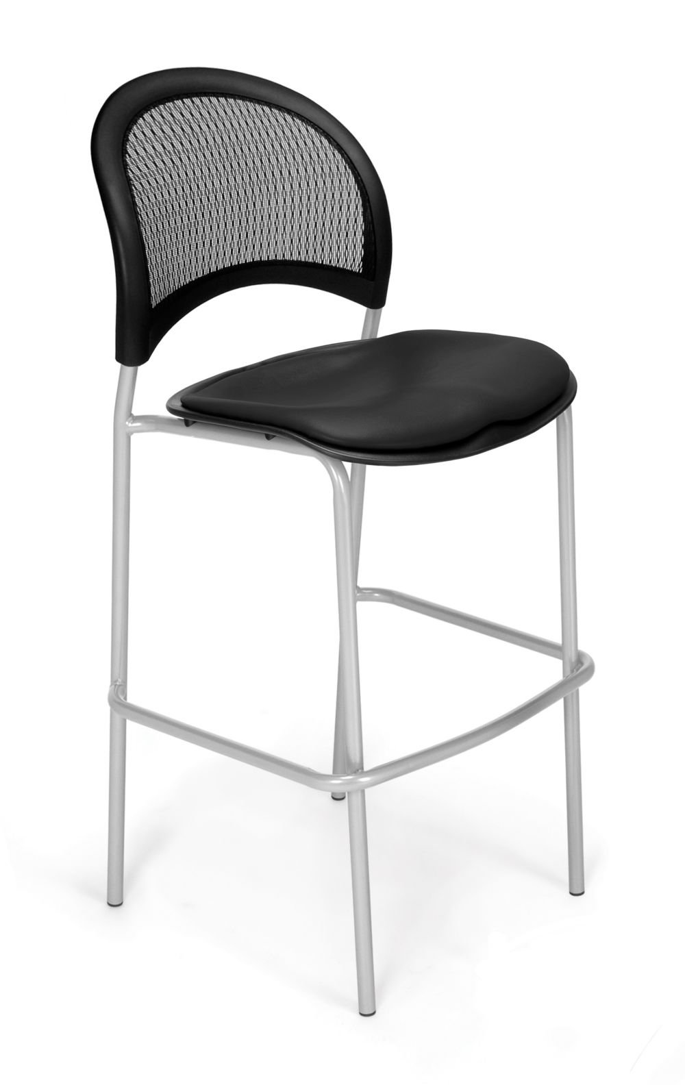 Set of 2 Cafe Height Vinyl Chair Black Vinyl/Silver Frame Dimensions: 21.5''W x 23.5''D x 45.25''H Weight: 108 lbs