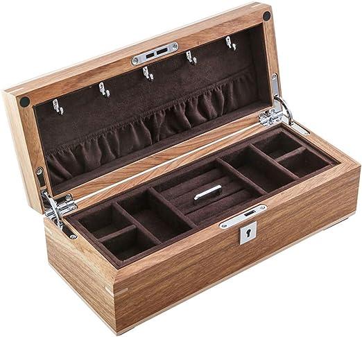 XPHZHQ-box Caja Joyero De Madera Vintage 2 Capas con Llave Tocador ...
