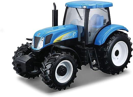 B18-44060 V/éhicule Miniature Mod/èle Assorti New Holland T7040 Bburago Tracteur et Remorque Echelle 1//32
