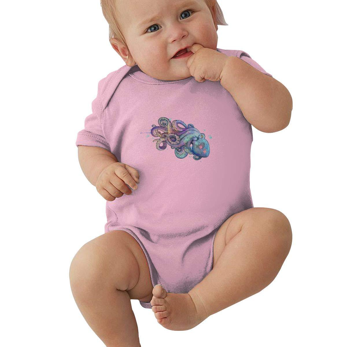 Infant Baby Boys Bodysuit Short-Sleeve Onesie Octopus Print Rompers