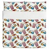Popcorn In 3D Cinema Duvet Bed Set 3 Piece Set Duvet Cover - 2 Pillow Shams - Luxury Microfiber, Soft, Breathable