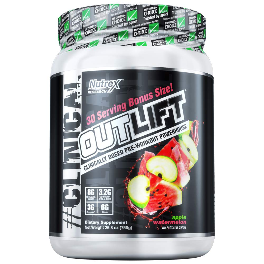 Nutrex Research Outlift Bonus Size Clinically Dosed Pre-Workout Powerhouse, Citrulline, BCAA, Creatine, Beta-Alanine, Taurine, 0 Banned Substances Apple Watermelon 30 Serving