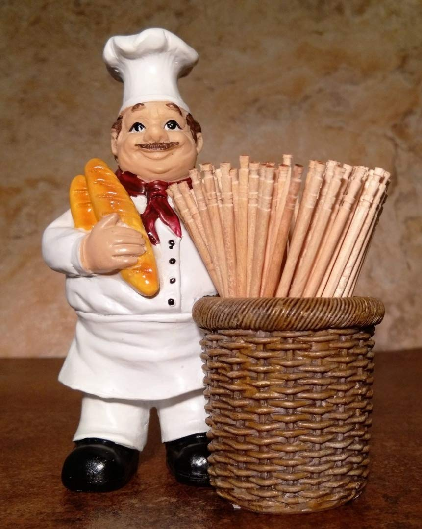 Jolly Italian Chef Baker Toothpick Holder with Bread and Basket Kitchen Accessory