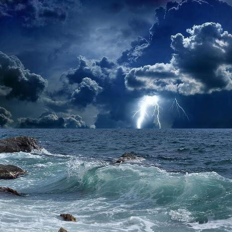 Mural Custom Photo Wallpaper 3d Ocean Waves Lightning Dark