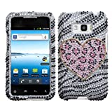 Silver Zebra Leopard Pink Heart Rhinestone Diamond Crystal Faceplate Hard Skin Case Cover for LG Optimus Elite LS696 VM696