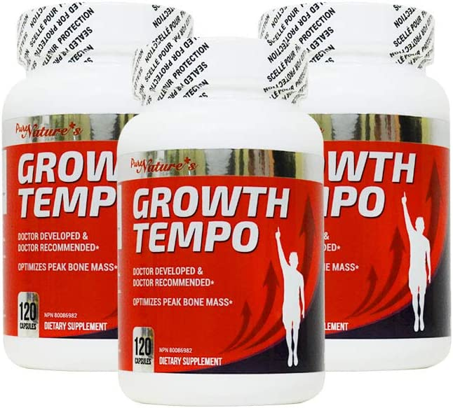 PNC Three Bottles of Growth Tempo 120 caps - Optimizes Peak Bone Mass + - Bone Supplement - Containing Growth Ingredients for Children/Teens and Various Vitamins and Calcium for Kids