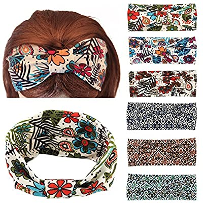 Yeshan Women and Girls Adjusted Bow Headbands/Bandana/Turban/Headwrap Knot Hairband,pack of 6