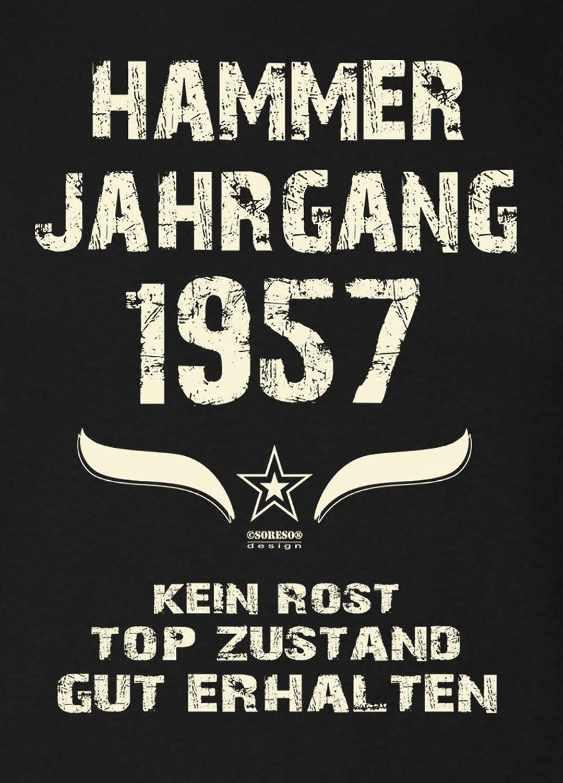 Geschenkidee Zum 59. Geburtstag :-: Herren Kurzarm Geburtstags T-Shirt mit Jahreszahl  :-: Hammer Jahrgang 1957 :-: Farbe: Schwarz: Amazon.de: Bekleidung
