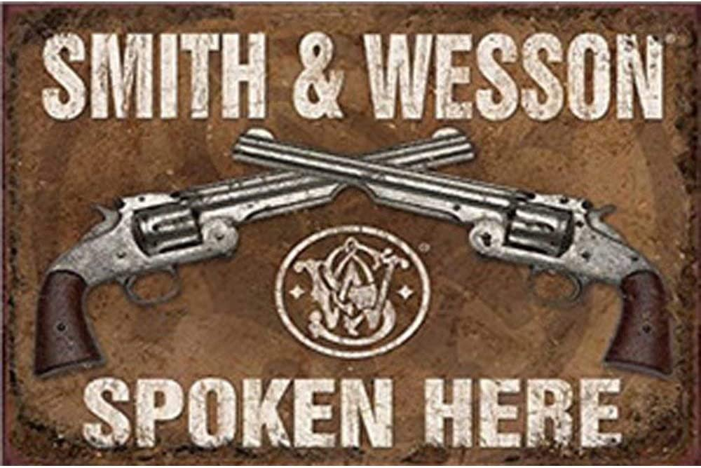 Ohuu Smith Wesson Spoken Here-Novelty Vintage Retro Metal Wall Decor Art Shop Man Cave Pub Garage Hotel Aluminum 8x12 inch Sign 8x12 inch