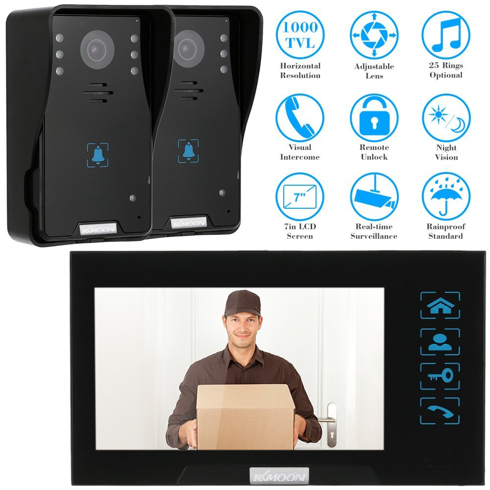 KKmoon TP02K21 7.0'' TFT Color Screen Monitor Video Doorbell Phone Chime Ring with 2-Way Talking Night Vision Camera Home Security CCTV Camera, Ships from US
