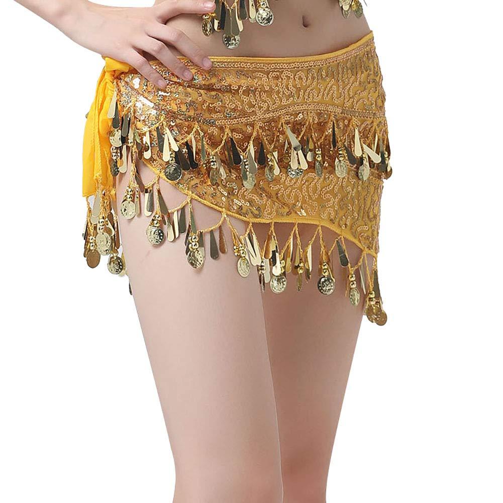 Shiningbaby Sciarpa Anca di Danza del Ventre con gonne di Paillettes di Monete Avvolgere Rumoroso