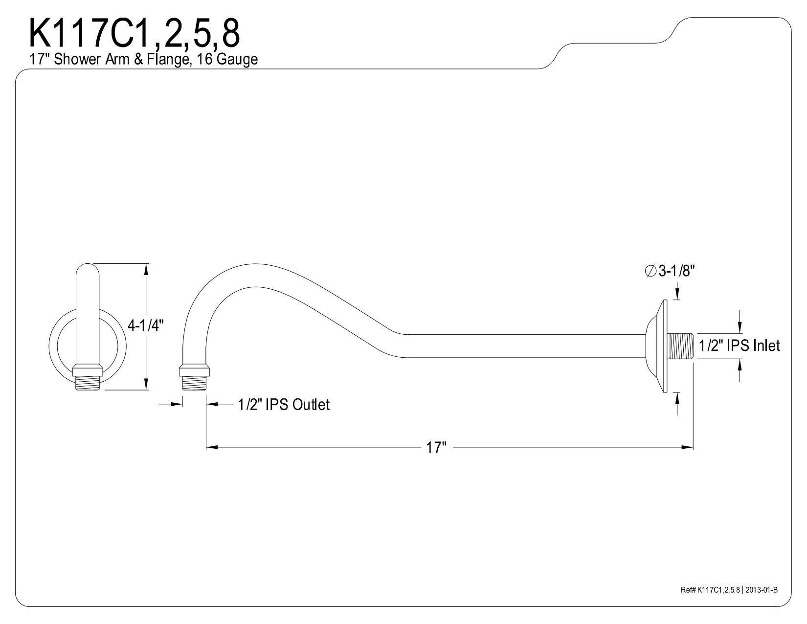 Kingston Brass K117C5 Designer Trimscape Showerscape 17-Inch Shower Arm, Oil Rubbed Bronze