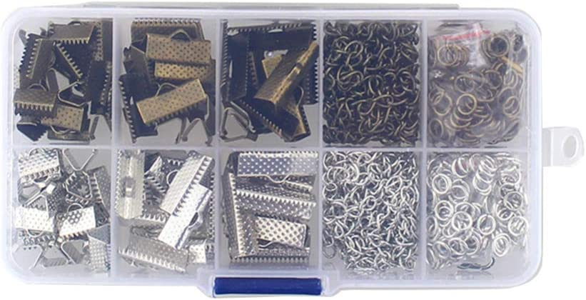Exceart 370 Pcs Ruban Bracelet Marque-Page Pincement Sertissage Pince Fin R/ésultats Cordon Extr/émit/és Attaches Fermoir Sertissage Extr/émit/és pour La Fabrication de Bijoux