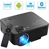 [Build-in Android OS] SEGURO Smart Android Projector 1080P Wifi Home Cinema Theater 1080P Full HD 1500 Lumens Mini Projector Movie Entertainment Support TV, DVD Player, Laptops, PC, Tablets, USB Drive, Headphone via USB / SD / AV / HDMI / VGA or Wireless Bluetooth Streaming Media Player Support Miracast & Airplay