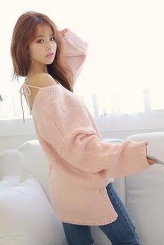 Zago Women Fashion Back Off Irregular Baggy Loose Pullovers Sweater