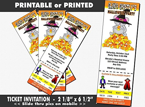 Candy Corn Mouse Halloween Party Ticket Invitation, Printable or Printed Option -