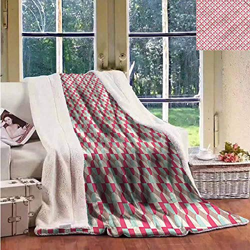 (Sunnyhome Winter Quilt Geometric Retro Tile of Circles Personalized Baby Blanket W59x78L)