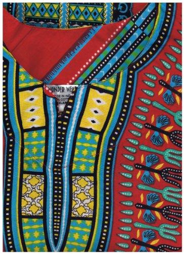 Traditional Print Unisex Dashiki Top (XXL, Red/Yellow)