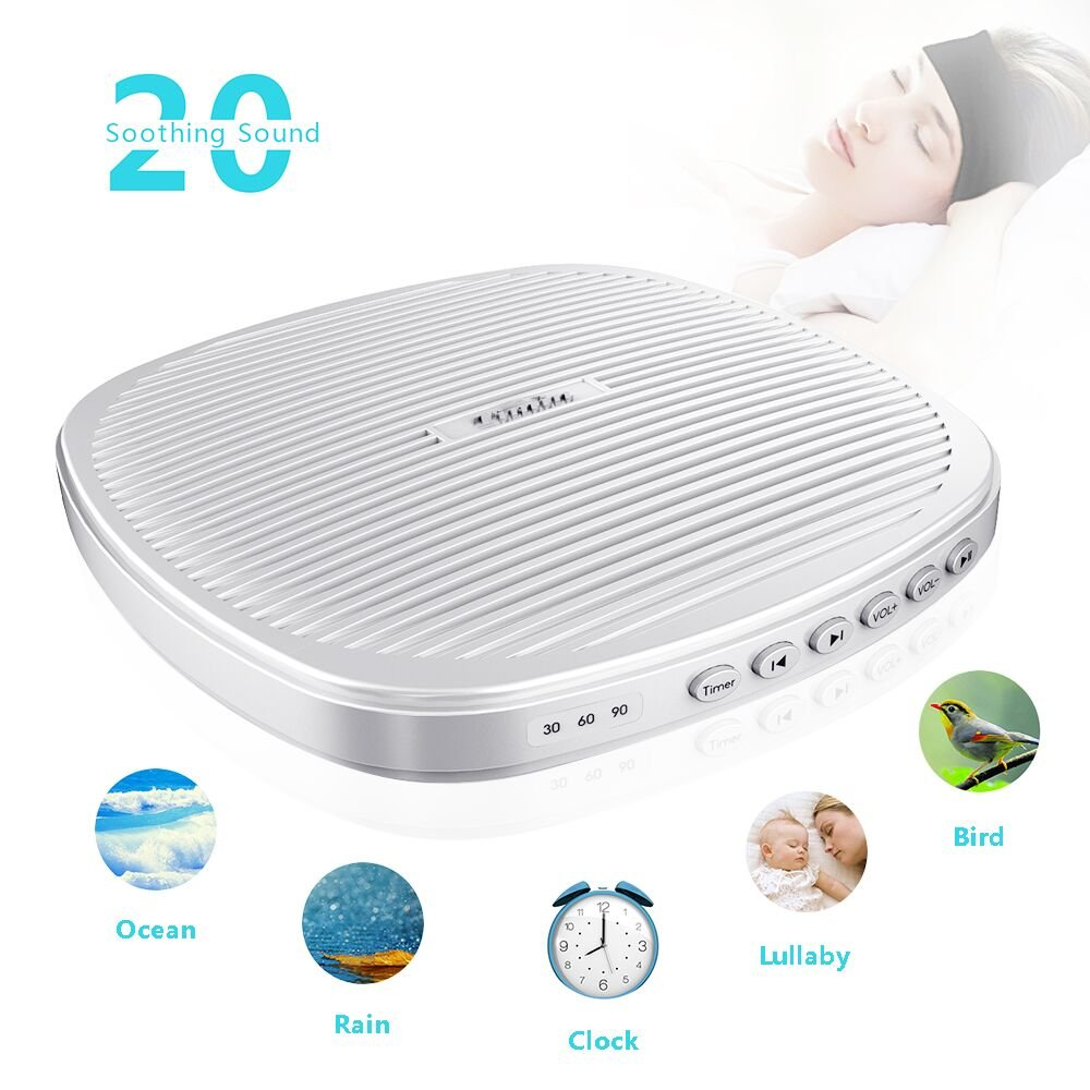 White Noise Machine, TIMIN Portable Sleep Therapy Sound Machine with Timer and 20 Soothing Natural Sounds - Ocean Wave,Rain,Birds,Fan and Campfire for Adult, Kids, Baby Or Travel