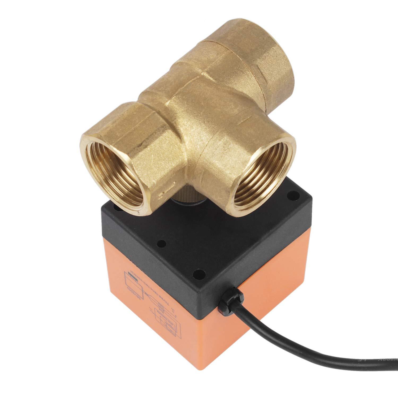 Miafamily Elektrisches Ventil Absperr Umschalt Kugelventil Messing Absperrhahn 2 Wege,DN20 G3/4 Zoll, AC 230V, fü r Flusssteuerung Zonenventil Kugelventil